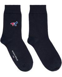 Maison Kitsuné - Navy Fox Logo Socks - Lyst
