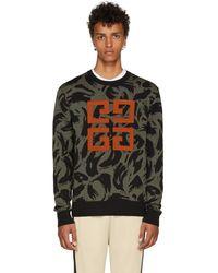 Givenchy - Khaki And Black Jacquard Big 4g Sweater - Lyst