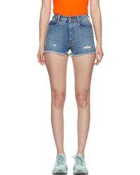 Stella McCartney - Blue Denim Frayed Shorts - Lyst