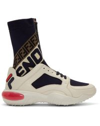 Fendi - Logo-jacquard Stretch Knit-panelled Leather High-top Sneakers - Lyst