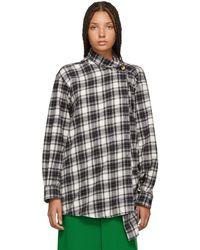 Balenciaga - Black And White Check Pulled Shirt - Lyst