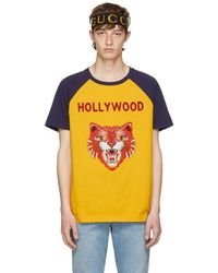 Gucci - Yellow And Blue Hollywood Tiger T-shirt - Lyst