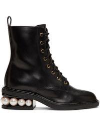 Nicholas Kirkwood - Casati Pearl Leather Combat Boots - Lyst