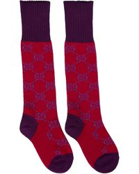 Gucci Red And Purple GG Supreme Long Socks