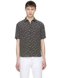 Saint Laurent - Black Dots And Swirls Yves-neck Shirt - Lyst