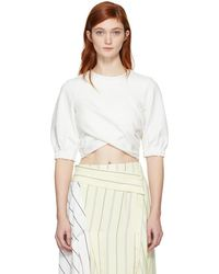 3.1 Phillip Lim - Off-white Twisted Cropped T-shirt - Lyst