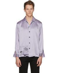 Enfants Riches Deprimes - Ssense Exclusive Blue Silk Charmeuse Shirt - Lyst