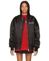 Palm Angels - Black Logo Oversized Bomber Jacket - Lyst