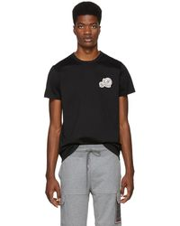 Moncler - Black Embroidered Logo T-shirt - Lyst