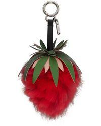 Fendi - Red Strawberry Fur Keychain - Lyst
