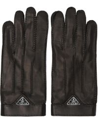 Prada | Black Leather Logo Gloves | Lyst
