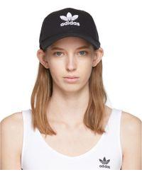adidas Originals ブラック トレフォイル ロゴ キャップ