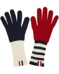 Thom Browne - Tricolor Rib Cashmere Funmix Four Bar Gloves - Lyst
