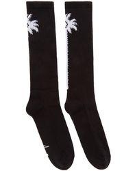 Marcelo Burlon - Black And White Long Palm Socks - Lyst