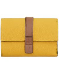 Loewe - Yellow And Brown Small Vertical Wallet - Lyst