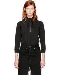 Unravel - Black Terry Zip Hoodie Bodysuit - Lyst