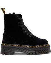 Dr. Martens - Black Velvet Jadon Platform Boots - Lyst