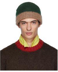 Marni - Bonnet en jersey vert et rose - Lyst