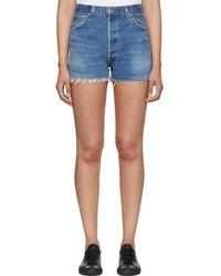 RE/DONE - Indigo Levis Edition Side Zip Denim Shorts - Lyst