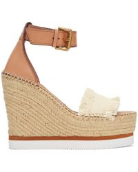 See By Chloé Sandales de style espadrille compensees blanc casse Glyn