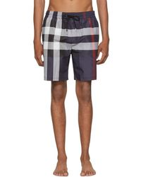 Burberry - Navy Check Guildes Swim Shorts - Lyst
