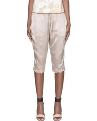 SUNO - Taupe Floral Embroidery Silk Capris - Lyst
