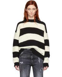 DSquared² - Black And White Alpaca Striped Sweater - Lyst