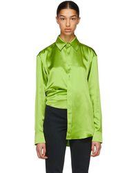 Martine Rose - Green Asymmetric Silk Shirt - Lyst
