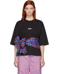 MSGM - Black Cropped Tie T-shirt - Lyst