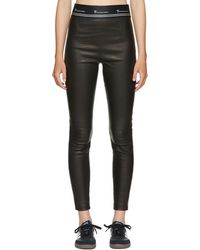 T By Alexander Wang - Black Stretch Leather Logo Trousers - Lyst