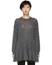RED Valentino - Grey Distressed Peplum Mohair Jumper - Lyst