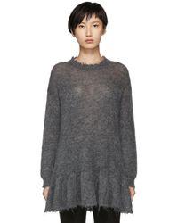 RED Valentino - Grey Distressed Peplum Mohair Sweater - Lyst