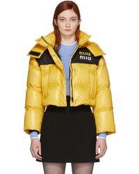 Miu Miu - Yellow Down Cropped Jacket - Lyst