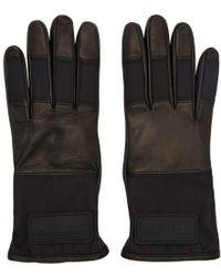 Prada - Black Lambskin Logo Gloves - Lyst