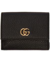 Gucci - Black Medium Gg Marmont Trifold Wallet - Lyst