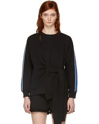 3.1 Phillip Lim - Black And Blue Waist Tie Sweatshirt - Lyst