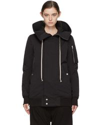 Rick Owens Drkshdw - Black Nylon Hooded Bomber Coat - Lyst