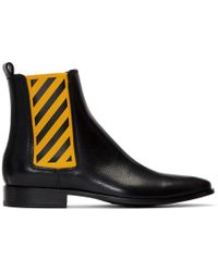 Off-White c/o Virgil Abloh - Black And Yellow Chelsea Boots - Lyst