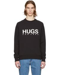 HUGO - Black Logo French Terry Sweatshirt - Lyst
