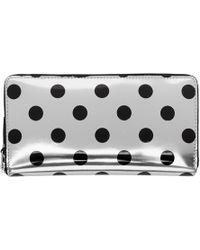 Comme des Garçons - Silver & Black Polka Dot Continental Zip Wallet - Lyst