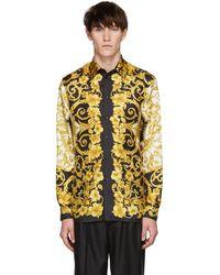 Versace - Gold Silk Barocco Shirt - Lyst