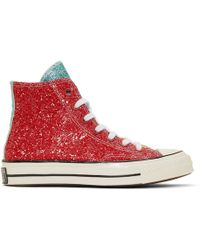 JW Anderson - Red Converse Edition Glitter Chuck 70 High Trainers - Lyst