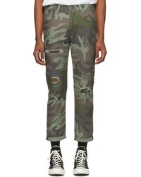 b1565601 Levi's - Green And Brown Camo Hi-ball Roll Jeans - Lyst