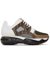 Fendi - White And Brown Forever Chunky Sneakers - Lyst