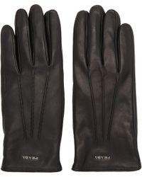 Prada - Gants en cuir a logo noirs - Lyst