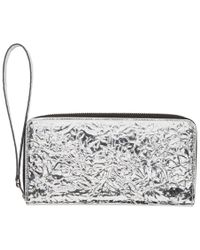 MM6 by Maison Martin Margiela - Silver Crinkled Wallet - Lyst