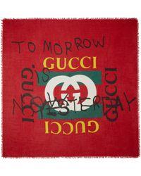 Gucci | Red Tomorrow Logo Shawl | Lyst