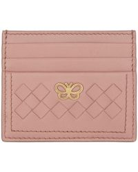 Bottega Veneta - Pink Intrecciato Butterfly Card Holder - Lyst