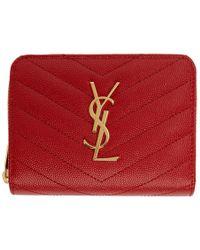 Saint Laurent - Red Monogramme Compact Zip Wallet - Lyst