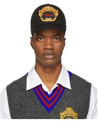 Versace - Black Embroidered Logo Cap - Lyst